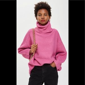Topshop oversized ribbed turtleneck sweater